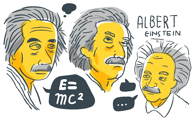Albert einstein in gele en zwarte schets
