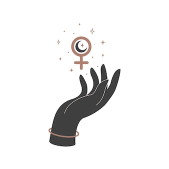 Alchemie esoterische mystieke magische hemelse talisman met vrouwenhand en vrouwelijk teken. spiritueel occultisme object. vector illustratie.