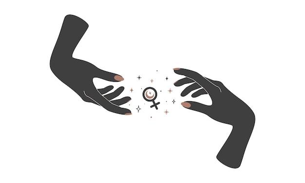 Alchemie esoterische mystieke magische hemelse talisman met vrouwenhanden met vrouwelijk teken. spiritueel voorwerp. vector illustratie.