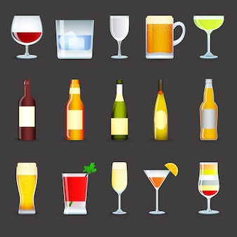 Alcohol drankjes icons set
