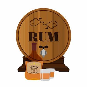Alcohol drinken, rum, glas, vaten. jamaica rum in vlakke stijl