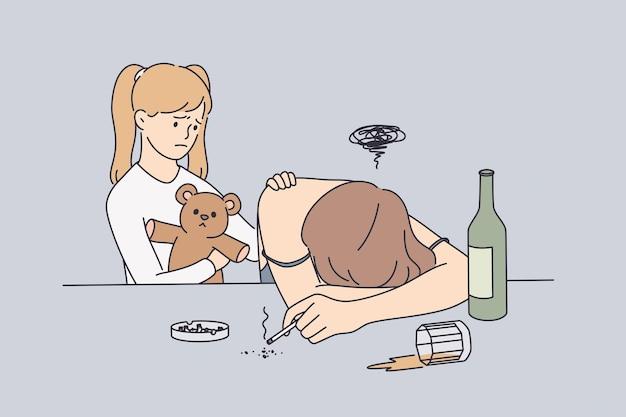 Alcohol drugsverslaving en help concept
