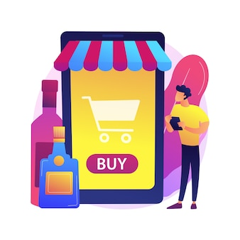 Alcohol e-commerce abstract concept illustratie. online kruidenierswinkel, alcoholmarkt, direct-to-consumer online wijn, slijterij