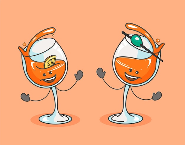 Alcohol glas cocktail set vector platte cartoon kleur pictogram met emoties getekende schets komische stijl