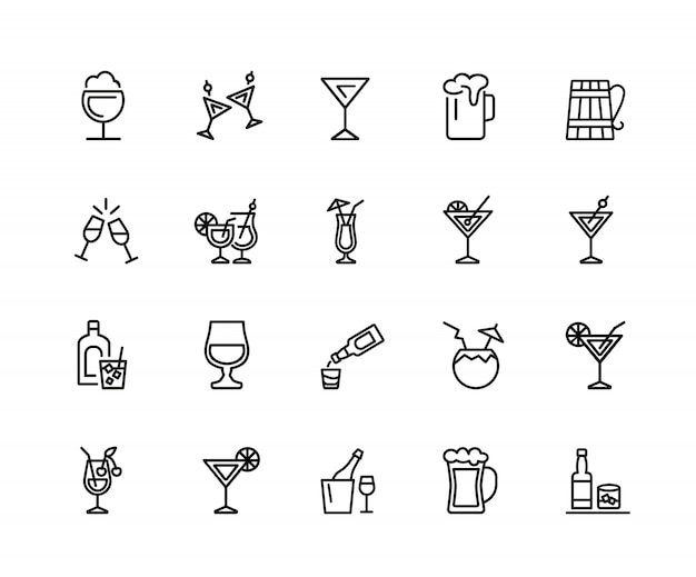 Alcohol pictogrammen. set van twintig lijn pictogrammen. cocktail, toast, martini.