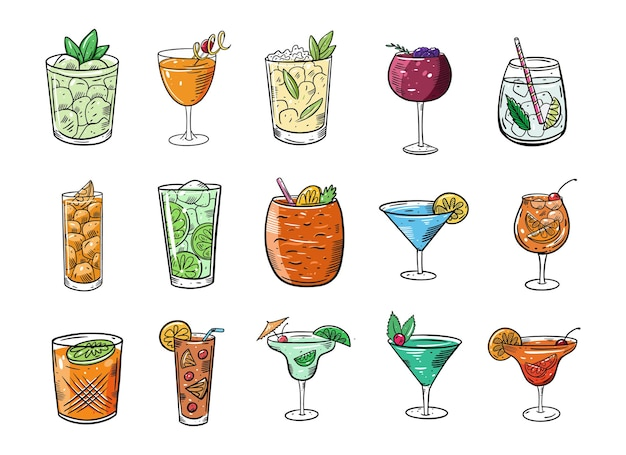 Alcoholcocktails grote reeks. cartoon plat kleurrijke illustratie. geïsoleerd op witte achtergrond. schets tekstontwerp voor mok, blog, kaart, poster, banner en t-shirt.