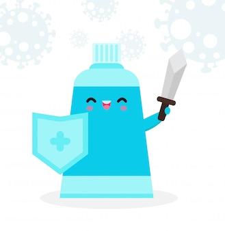 Alcoholgel schattig karakter. handdesinfecterend middel, handwasgelgevecht met coronavirus (2019-ncov), alcoholgelaanval covid-19, bescherming tegen virussen en bacteriën, gezonde levensstijl geïsoleerd