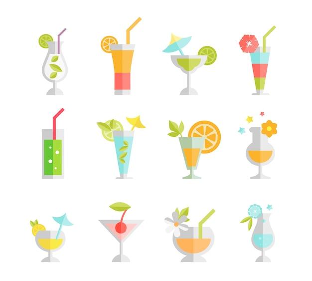Alcoholische cocktails geïsoleerd. alcoholdrank, wodka en martini