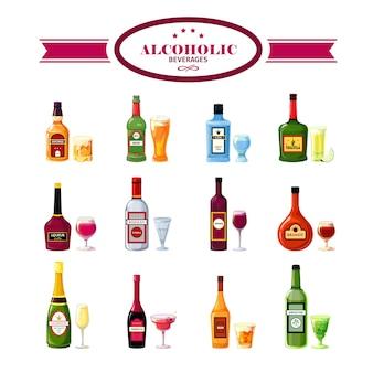 Alcoholische dranken dranken vlakke pictogrammen instellen