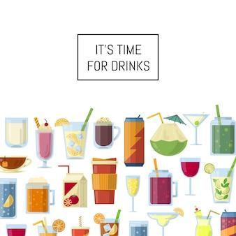 Alcoholische dranken in glazen en flessen en met copyspace