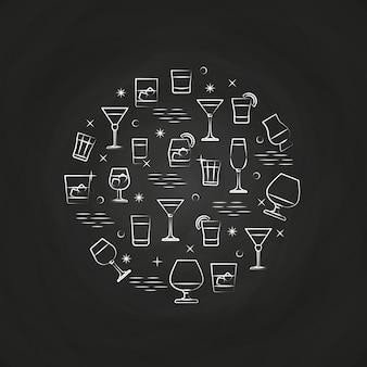 Alcoholische dranken pictogrammen op schoolbord