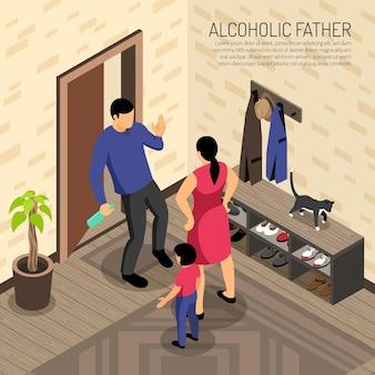 Alcoholische vader komt binnen in appartement