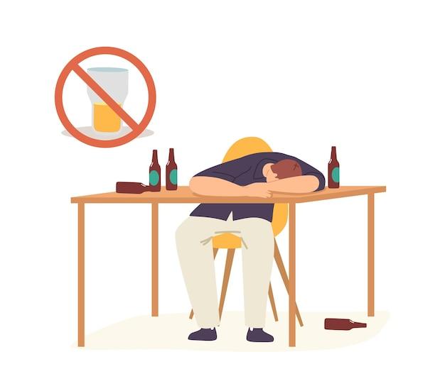 Alcoholisme concept. drunk man hangover syndrome als gevolg van alcoholverslaving. mannelijke karakter slapen op tafel met lege flessen rond. verderfelijke gewoonten, middelenmisbruik. cartoon vectorillustratie