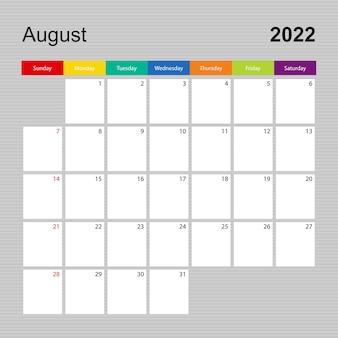 Ð¡alendar pagina voor augustus 2022, wandplanner met kleurrijk design. week begint op zondag.