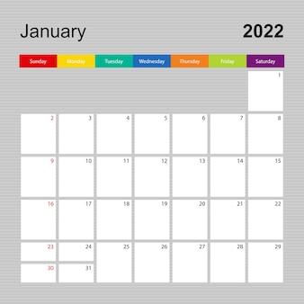 Ð¡alendar pagina voor januari 2022, wandplanner met kleurrijk design. week begint op zondag.