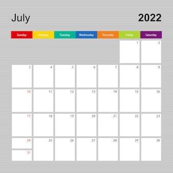 Ð¡alendar pagina voor juli 2022, wandplanner met kleurrijk design. week begint op zondag.
