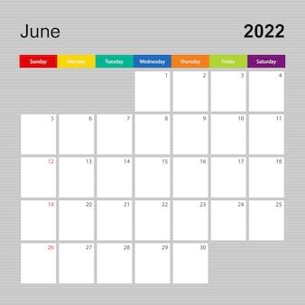 Ð¡alendar pagina voor juni 2022, wandplanner met kleurrijk design. week begint op zondag.
