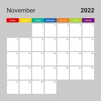 Ð¡alendar pagina voor november 2022, wandplanner met kleurrijk design. week begint op zondag.