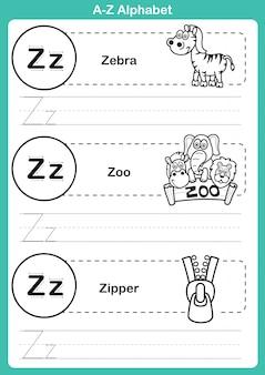 Alfabet az-oefening met beeldverhaalwoordenschat voor het kleuren van boek