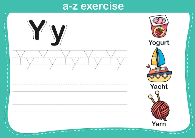 Alfabet az oefening met cartoon woordenschat illustratie