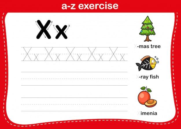 Alfabet az oefening met de illustratie van de beeldverhaalwoordenschat, vector