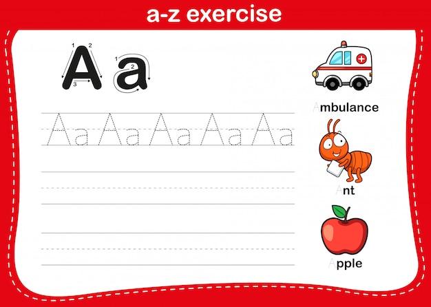 Alfabet az oefening met de illustratie van de beeldverhaalwoordenschat