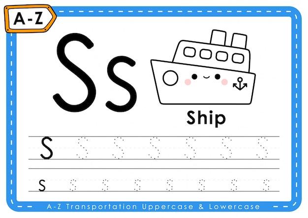 Alfabet az transport tracing letters werkblad