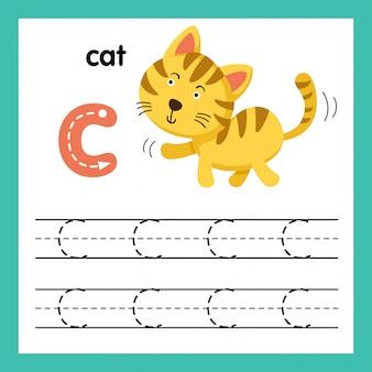 Alfabet c-oefening met de illustratie van de beeldverhaalwoordenschat, vector