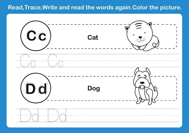 Alfabet-cd-oefening met cartoonwoordenschat voor het kleuren van boekillustratie
