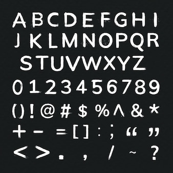 Alfabet, cijfers, symbolen grunge penseelstreek typografie set