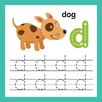 Alfabet d-oefening met de illustratie van de beeldverhaalwoordenschat, vector