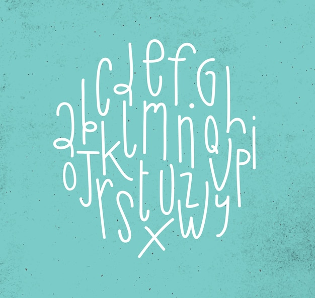 Alfabet die in moderne stijl op vuile turkooise achtergrond trekken
