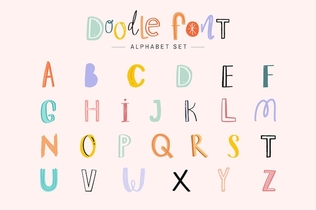 Alfabet doodle lettertype typografie handgeschreven set