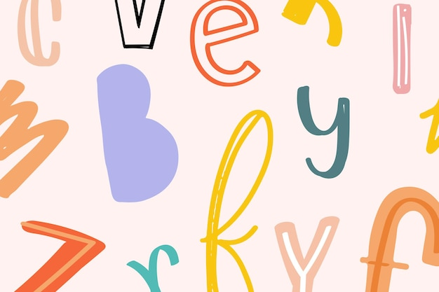 Alfabet doodle typografie achtergrond