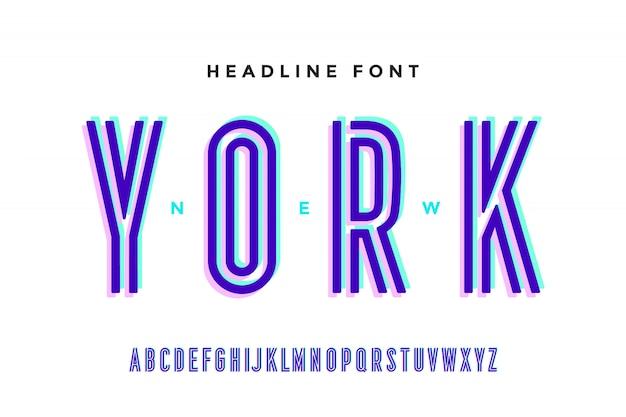 Alfabet en lettertype. vetgedrukte, normale en middelgrote hoofdletters