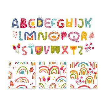 Alfabet en naadloze patroon set geïsoleerd op wit