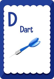Alfabet flashcard met letter d voor dart