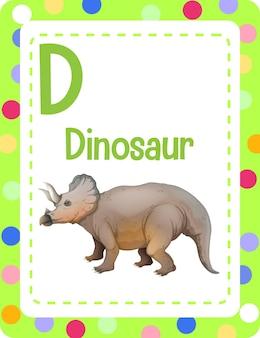 Alfabet flashcard met letter d voor dinosaur Gratis Vector