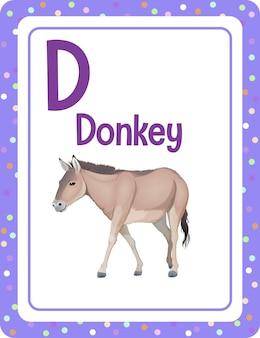 Alfabet flashcard met letter d voor donkey