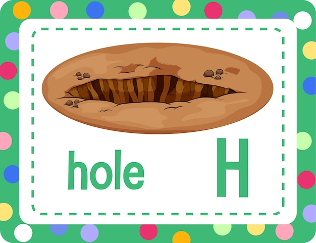 Alfabet flashcard met letter h voor gat