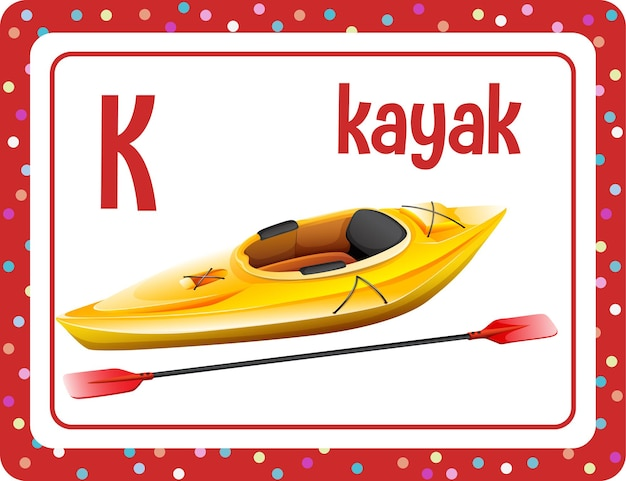 Alfabet flashcard met letter k en kayak