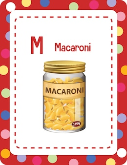Alfabet flashcard met letter m voor macaroni Gratis Vector