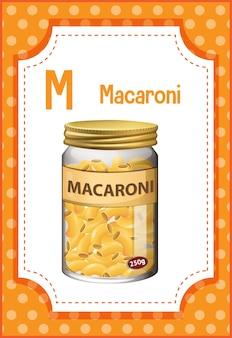 Alfabet flashcard met letter m voor macaroni