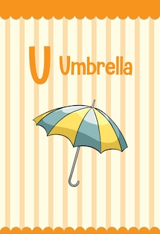 Alfabet flashcard met letter u voor paraplu
