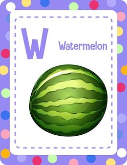 Alfabet flashcard met letter w voor watermeloen