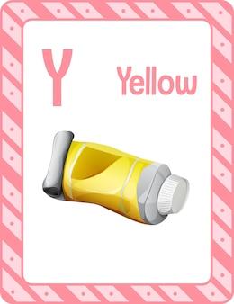Alfabet flashcard met letter y voor geel