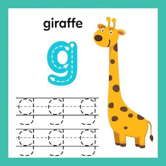 Alfabet g-oefening met de illustratie van de beeldverhaalwoordenschat, vector