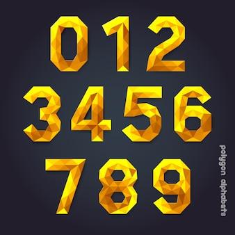 Alfabet gouden kleur veelhoekstijl.