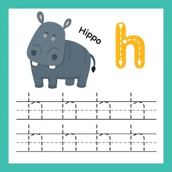 Alfabet h-oefening met de illustratie van de beeldverhaalwoordenschat, vector