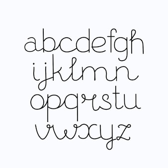 Alfabet, handafdruk, letters, cijfers, symbolen, kalligrafie, belettering